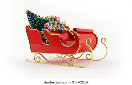 Santa's sleigh full of presents with a decorated Christmas tree - 3d rendering