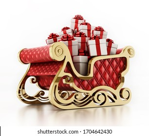 Santa's sleigh loaded with giftboxes isolated on white background. 3D illustration.