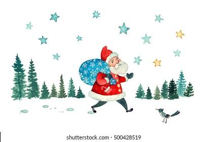 Santa's walk - watercolor illustration of Santa walking the snowy woods