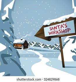 Santa's workshop at the north pole. royalty free stock illustration for ad, promotion, poster, flier, blog, article, social media, marketing
