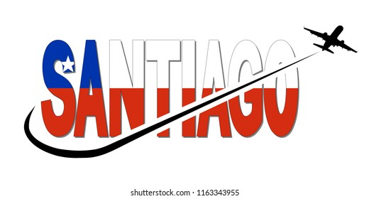 Santiago flag text with plane silhouette and swoosh illustration