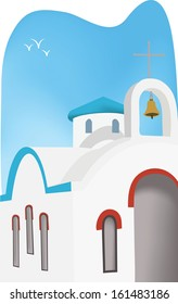 Santorini church illustration