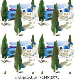 Santorini island in the Greece. Stylized small white houses with blue domed roofs and small windows and sea on the background.  Seamless watercolor pattern.