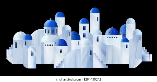Santorini island in the Greece. Stylized small white houses with blue domed roofs and small windows. Digitally painted art in gouache technique