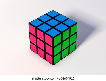 SAO PAULO - BRAZIL - JUNE 22, 2017 Rubik's cube on the white background. There are two version, one  unresolved and one resolved. Rubik's Cube invented by a Hungarian architect Erno Rubik in 1974.