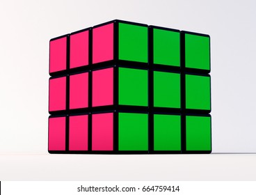 SAO PAULO - BRAZIL - JUNE 22, 2017 Rubik cube on the white background. There are two version, one  unresolved and one resolved. Rubik's Cube invented by a Hungarian architect Erno Rubik in 1974.