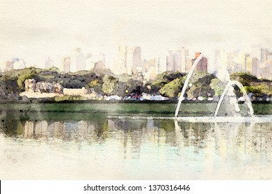Sao Paulo skyline view from Ibirapuera Park. Beautiful digital watercolor art of famous place in the city.