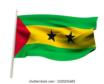 Sao Tome and Principe flag floating in the wind with a White sky background. 3D illustration.
