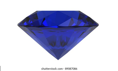 Sapphire gemstone, 3d render, isolated on white