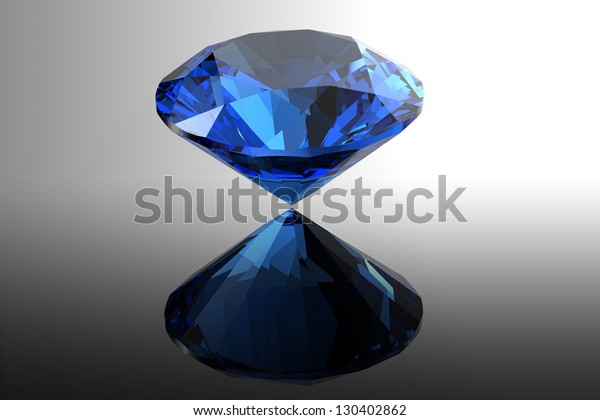 Sapphire.Jewelry gems roung shape on black background