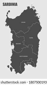 The Sardinia region map divided in provinces with labels, Italy
