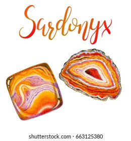 Sardonyx slice mineral and polished crystal isolated on white background. August birthstone with lettering. Hand painted illustration of gems drawn with colored pencils