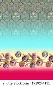 Saree Daman Design For Colorful Digital Printing Digital textile saree design and colorful background and Illustration