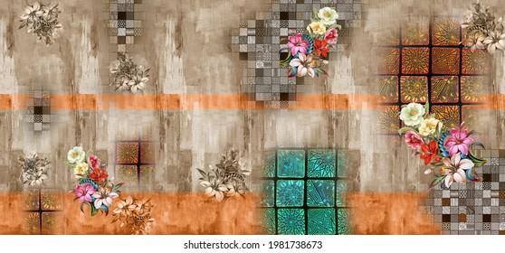 Saree Daman Design for Colorful Digital Printing Digital Textil sind Design und bunter Hintergrund und Illustration
