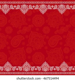Sari indian seamless pattern. Tribal art border abstract print. Ethnic ornament. Repeating background texture. Fabric, cloth design
