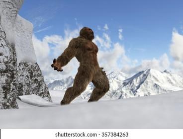 Sasquatch - Bigfoot - Yeti on snowy mountain peaks