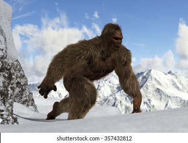 Sasquatch - Bigfoot - Yeti on snowy mountain peaks