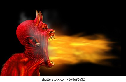 Satan flames on a black background as demon fire blaze as a creepy scary red horned satanic beast monster breathing out hot burning torch as a halloween or horror icon with 3D illustration elements.