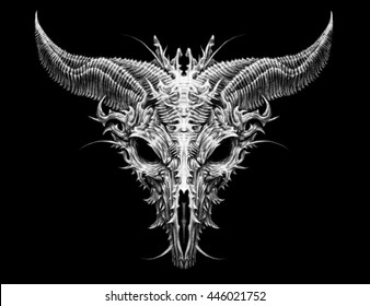 Satan goat head. Biomechanical illustration on black background