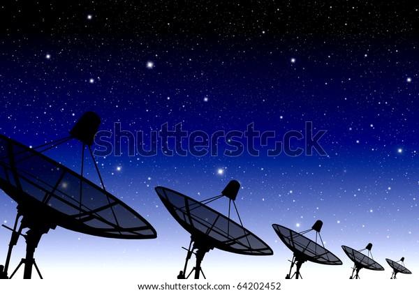 satellite disc against twilight sky