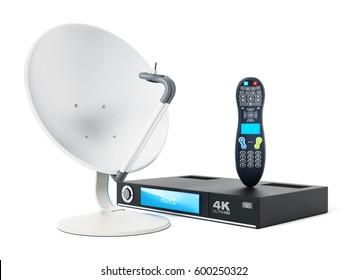 Satellite dish, 4K ultra HD receiver, remote controller isolated on white background. 3D illustration.