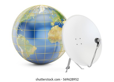 Satellite dish with earth, global telecommunications concept. 3D rendering isolated on white background. Elements of this image furnished by NASA