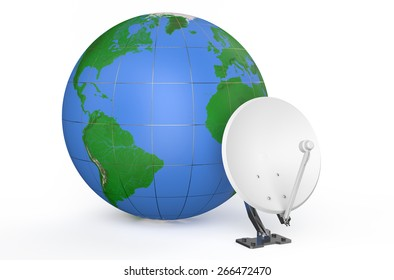 Satellite dish and earth isolated on white background