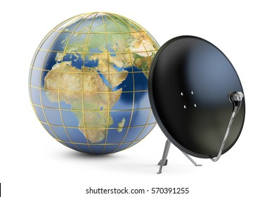 Satellite dish with globe earth, global telecommunications concept. 3D rendering isolated on white background. Elements of this image furnished by NASA
