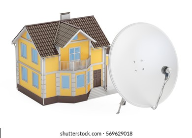Satellite dish with house, 3D rendering isolated on white background