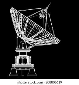 Satellite dishes antenna - Doppler radar. black cartoon illustration outline. High resolution 3D