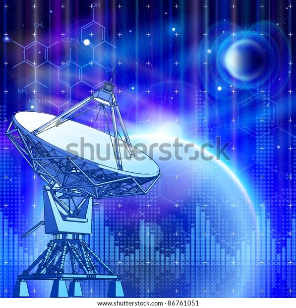 Satellite Dishes Antenna Doppler Radar Blue Stock
