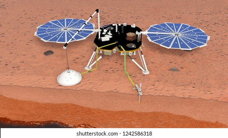 Satellite InSight at work on the mars soil, 3D rendering