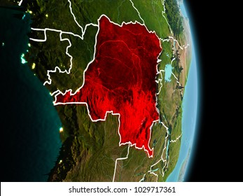 Satellite morning view of Democratic Republic of Congo highlighted in red on planet Earth with visible border lines and city lights. 3D illustration. Elements of this image furnished by NASA.
