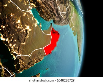 Satellite morning view of Oman highlighted in red on planet Earth with visible border lines and city lights. 3D illustration. Elements of this image furnished by NASA.