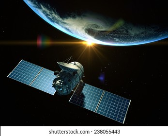 Satellite is orbiting around the Earth. Elements of this image furnished by NASA