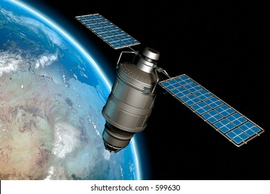 Satellite orbiting earth, photo-realistic high-res 3D rendering