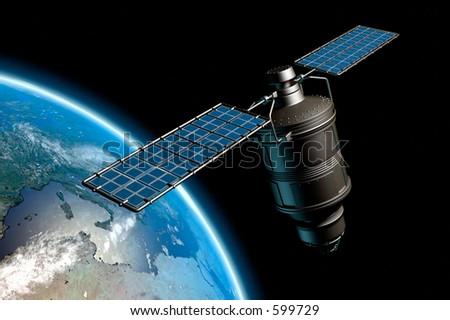 satellite orbiting earth photorealistic highres 3 d stock