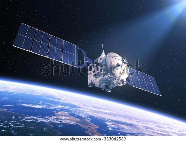 光の中の衛星。3Dシーン。