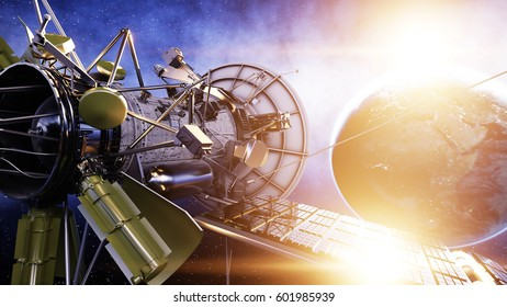 Satellite in space. view of the earth. Sunrise. 3d rendering.
