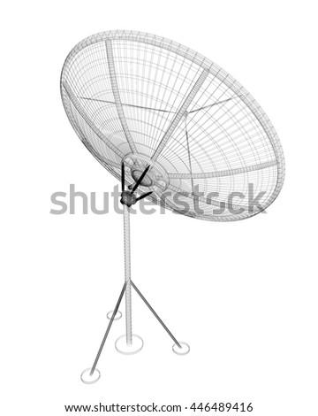 Satellite Tracking System Satellite Dish On Stock Illustration