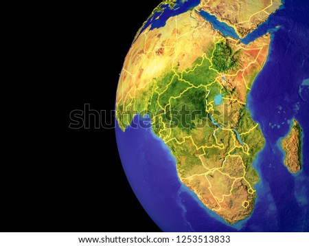 Satellite View Africa Space Country Borders Stock Illustration