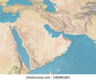 Satellite view of the Arabian Peninsula. Map. Saudi Arabia, Yemen, Oman, United Arab Emirates, Syria, Iran, Iraq, Qatar, Kuwait, Turkey. Elements of this image are furnished by Nasa. 3d rendering