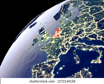 Satellite view of Benelux Union on Earth with city lights. Extremely detailed plastic planet surface with real mountains. 3D illustration. Elements of this image furnished by NASA.