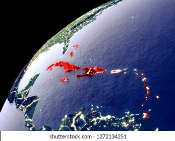 Satellite view of Caribbean on Earth with city lights. Extremely detailed plastic planet surface with real mountains. 3D illustration. Elements of this image furnished by NASA.