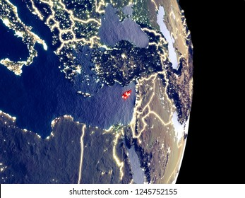 Satellite view of Cyprus at night with visible bright city lights. Extremely fine detail of the plastic planet surface. 3D illustration. Elements of this image furnished by NASA.