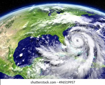 Satellite view of disastrous hurricane Matthew approaching Florida in America. 3D illustration. Elements of this image furnished by NASA