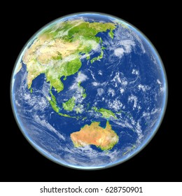 Satellite view of East Asia on planet Earth. 3D illustration with detailed planet surface. Elements of this image furnished by NASA.