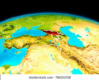 Satellite view of Georgia highlighted in red on planet Earth with borderlines. 3D illustration. Elements of this image furnished by NASA.