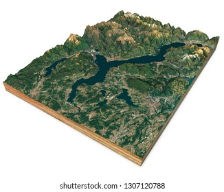 Satellite view of Lake Maggiore, map, mountains and reliefs, 3d section. 3d rendering. Lombardy, Piedmont. Italy, Switzerland. Elements of this image are furnished by NASA