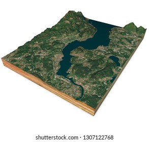 Satellite view of Lake Maggiore, map, mountains and reliefs, 3d section. 3d rendering. Lombardy, Piedmont. Italy. Elements of this image are furnished by NASA